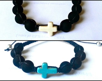 CROSS Shamballa Bracelet with Matte Beads for men and women, guy and girl, stackable and adjustable Lusnyak