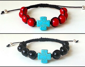 SQUARE CROSS Shamballa Bracelet with Glossy Beads for men and women, guy and girl, stackable and adjustable Lusnyak