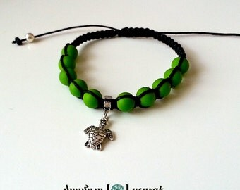 TURTLE CHARM Shamballa Bracelet with COLORFUL Matte Beads for men and women, guy and girl, stackable and adjustable Lusnyak