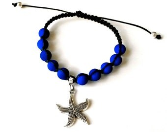STARFISH CHARM Shamballa Bracelet with COLORFUL Matte Beads for men and women, guy and girl, stackable and adjustable Lusnyak