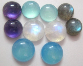 Lot of Mix Gemstone Labradorite,Blue Chalcedony,Amethyst,Aqua Chalcedony,Rainbow Moonstone 6x6 mm Round Cabochons