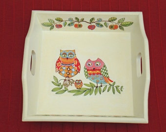 Wood Tray Owl decor serving tray new home gift for her ivory tray ottoman tray wooden tray with handles decorative tray jewelry tray hygge