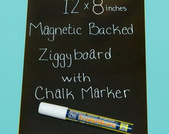 Magnetic Backed Kitchen or Office Ziggyboard Chalkboard with chalk marker 12x8