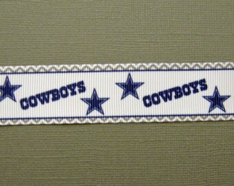 "DALLAS COWBOYS  - 1"" Grosgrain Craft ribbon with Stars and Decorative Edging - 3 Yards"