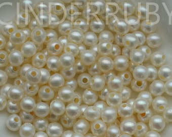 Large Hole Pearls,Large Hole Freshwater Pearls,Round Pearls,White Pearls,Peachy Pearls,Mauve Pearls,6 mm,Luxe AA,June Birthday Stone