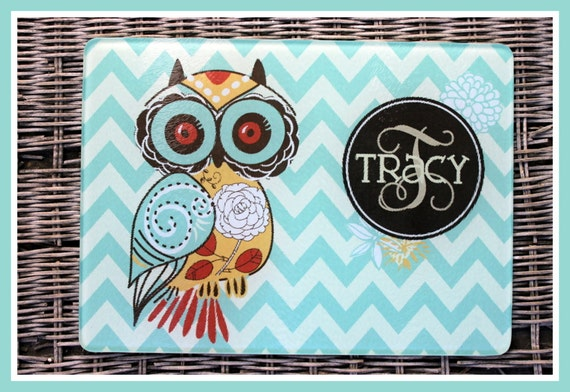 Kitchen Gifts for Mom Personalized Cutting Board Gifts for Cooks Glass Cutting Board Cutting Boards Housewarming Owl Cooking Gifts