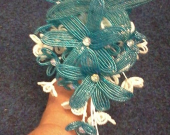 HALF PRICE Hand made french beaded lily bouquet teal glass beads