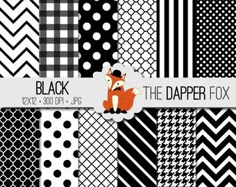 Black and White Digital Paper Pack - INSTANT DOWNLOAD - 12x12 - chevron, stripes, dots, quatrefoil