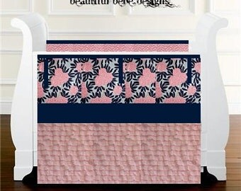 Crib Bedding Set Baby bedding - Caitlin Wilson -bumpers or bumperless teething rail guards ruffled skirt Navy Fleur Chinoise and Pink floral