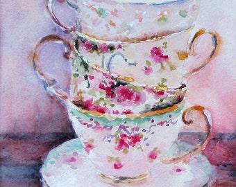 Teacup painting watercolor painting print giclée 5 x 7 tea party