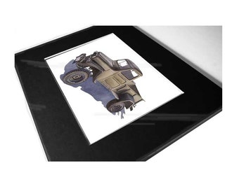 Print of any car 13' x 11' black matted frame with protective cover