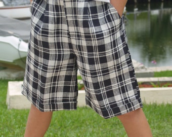 Clearance Black and white shorts in checks, Boys Linen Shorts, Clearance  #BSBW6