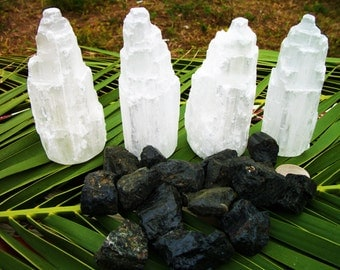 Selenite Tower Protection Grid - Reiki infused, Archangel Michael blessed crystal grid