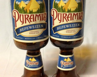 Pyramid Hefeweizen Beer Bottle Wine Glasses. Recycled Glass Bottles.