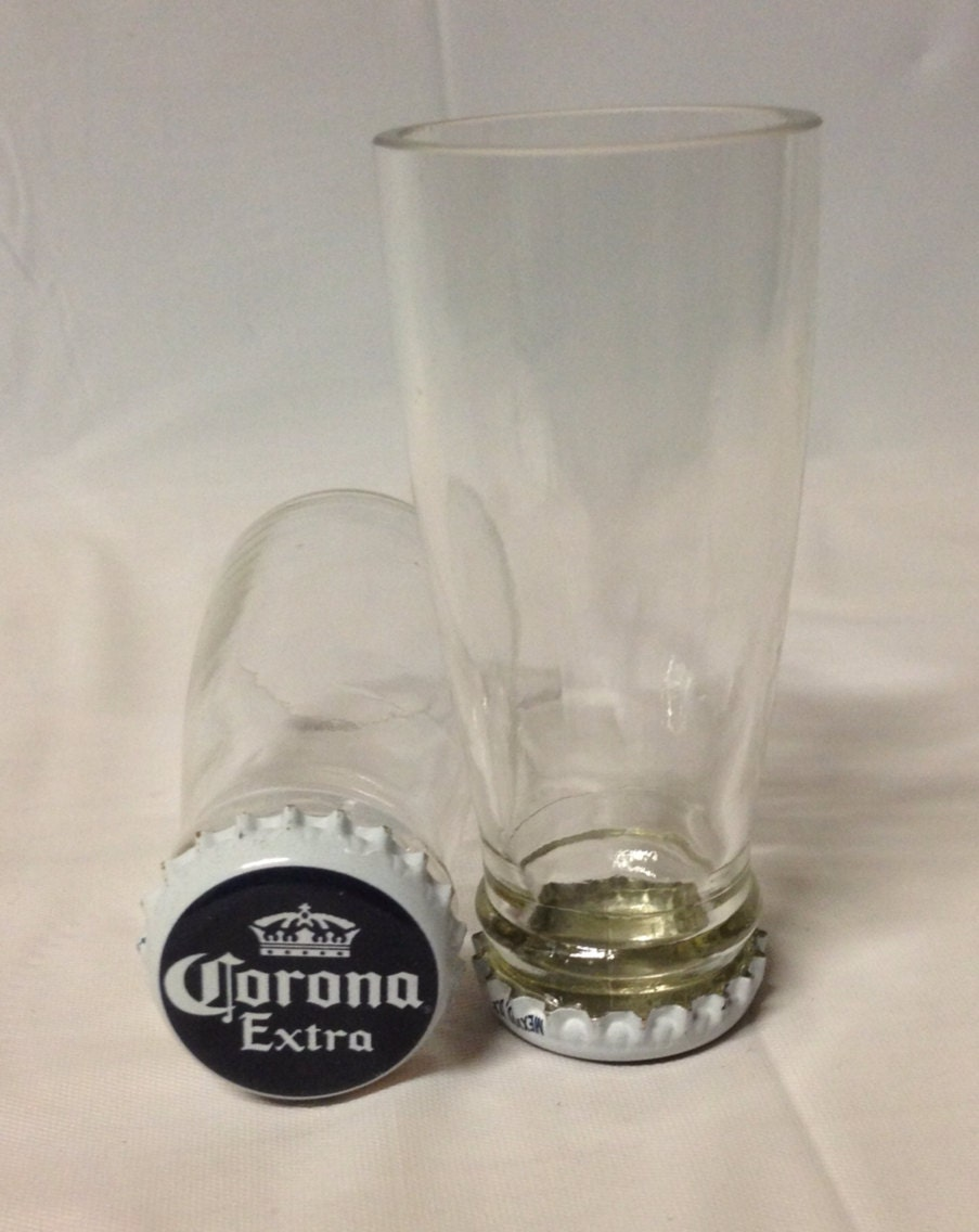 Corona beer bottle shot glasses recycled glass bottles man for How to remove bottom of glass bottle