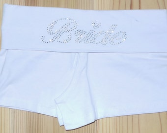 Bride fold over waist shorts. Bridesmaid. Bachelorette Party. Maid of Honor. Team Bride. Wedding Bridal Party.