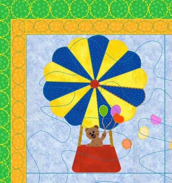 Baby Quilt Pattern Hot Air Balloon by KinderGardenDesigns