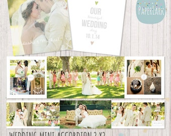 Wedding Album Accordion Mini - 3x3 inch Photoshop template - FN003 - INSTANT DOWNLOAD