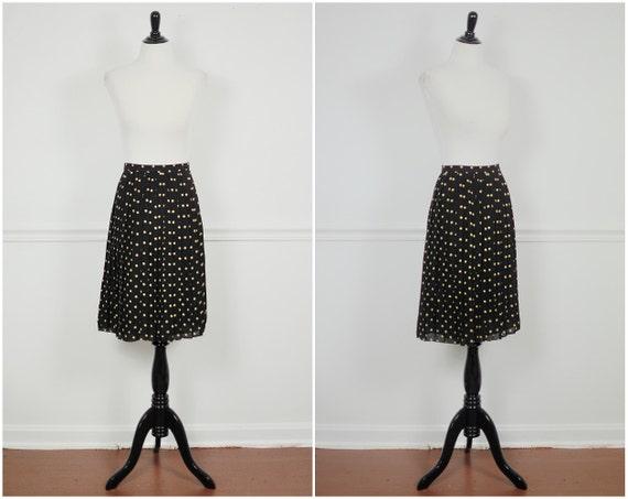 black and nude beige sheer silk pleated high waist skater preppy boho mini skirt M L