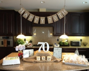 Happy 70th Birthday Burlap Banner, Photo Prop, Birthday Banner, Party Banner