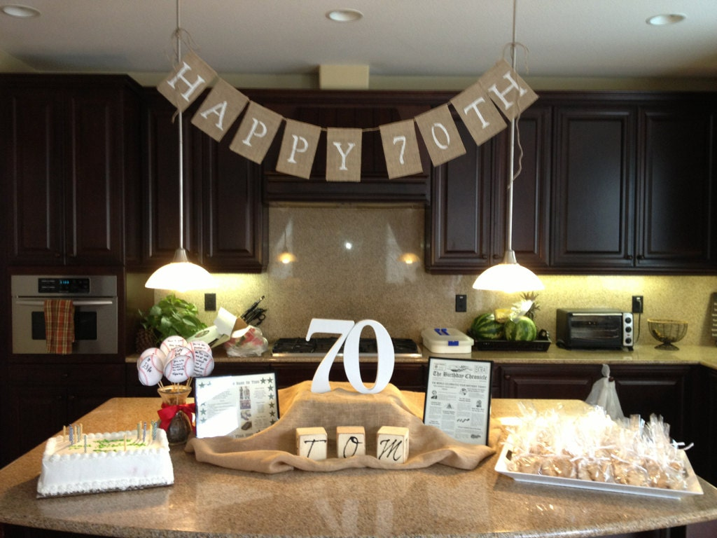 Happy 50th 60th or 70th birthday burlap banner photo prop for 70 birthday decoration ideas