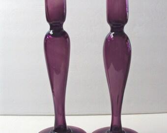 Dorflinger Amethyst Glass Candlesticks Rare