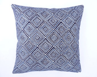 "Barclay Butera Home - Modern  Accent Pillow -  17"" x 17"" with feather/down insert ""Indigo Diamond Blue"""