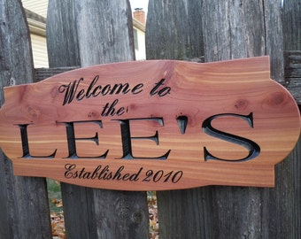 Welcome to Sign Personalized Carved Wooden Last Name Sign Established Date Wedding Anniversary Gift Housewarming Engraved Plaque Cedar 315