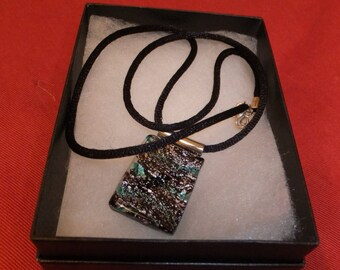 Black/grey marble pendent on black satin necklace