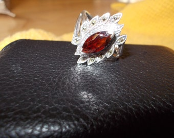 Garnet and Marcasite Ring