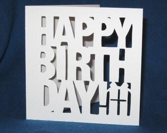 Birthday Present Card, Happy Birthday, Hand Cut Card