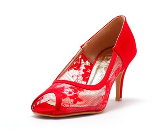 Red Lace  Wedding Heel,Red Bridal lace Heel,  Red Satin Heels, Red Wedding Shoes, Red See Through Wedding Shoes