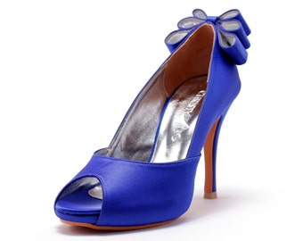 Custom Made Wedding Heels, Blue Wedding Heels with Back Bow, Blue Wedding Shoes, Blue Bridal Shoes