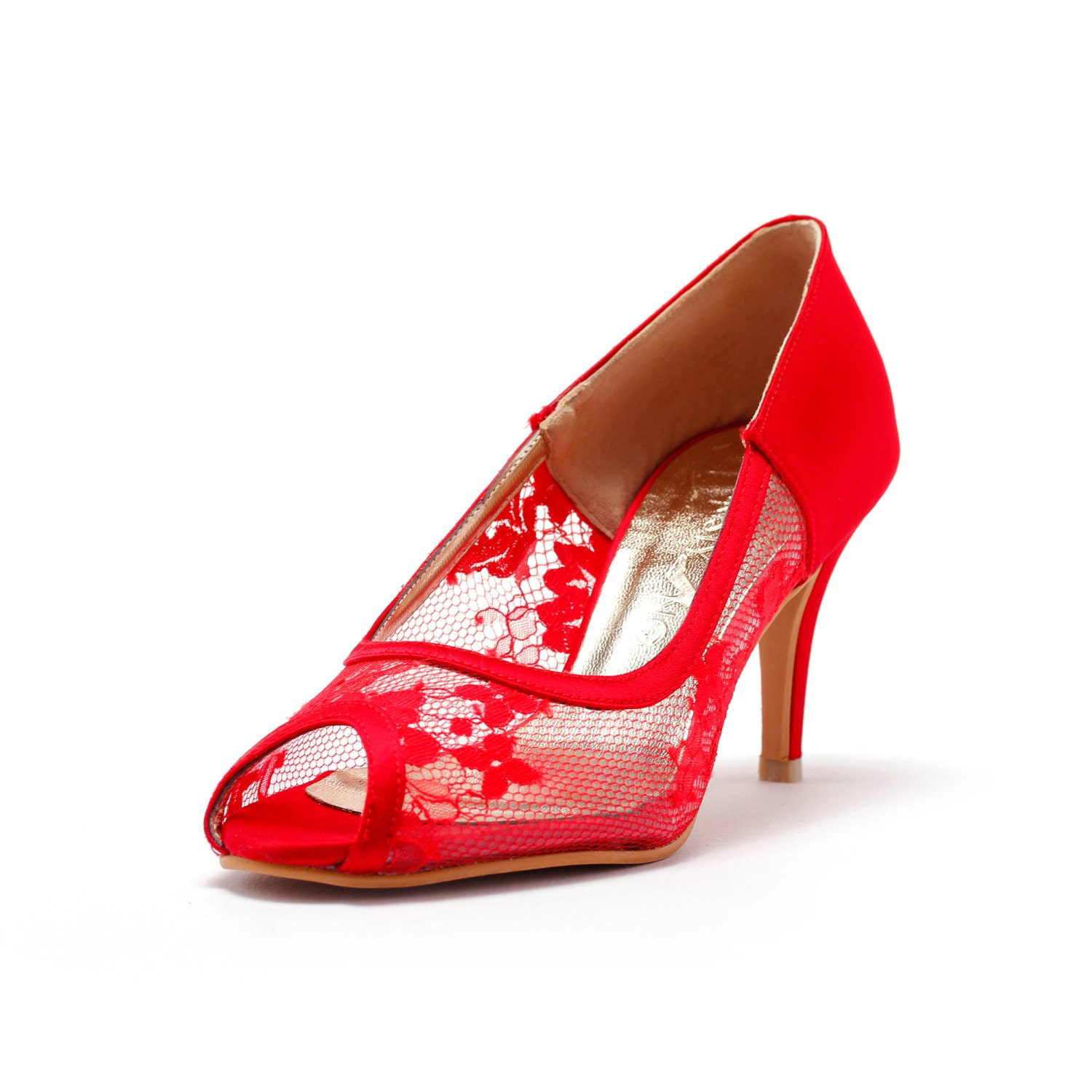 Red Lace Wedding HeelRed Bridal Lace Heel Red Satin Heels