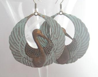 Crane - earrings bronze türquoise vintage boho style pond water bird