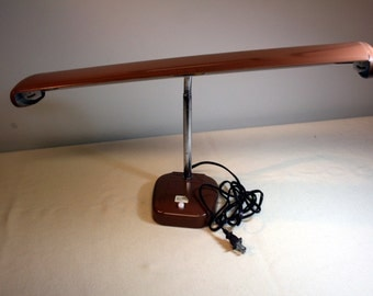 Industrial airplane wing desk lamp-vintage metal desklamp-cocoa brown gooseneck-art deco
