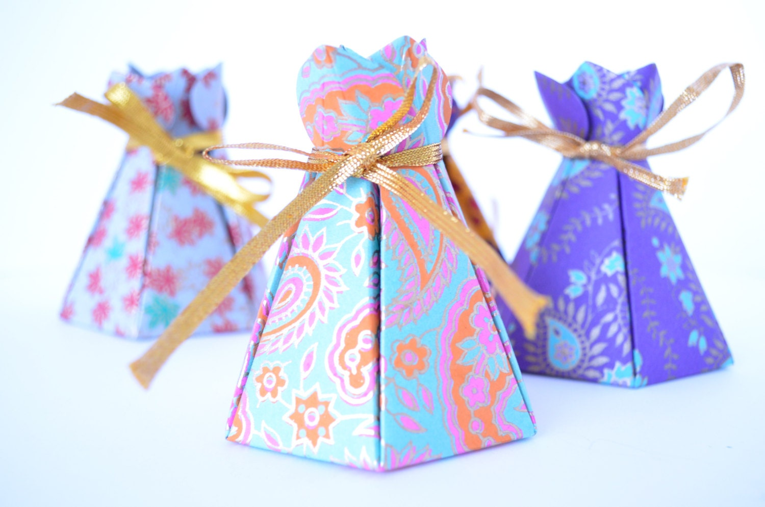 Set of 4 Assorted Bloom Box handmade paper gift box Wedding