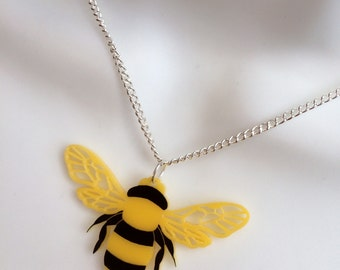 R&R laser cut yellow perspex summer 'Bee' necklace