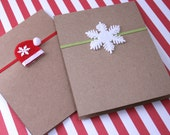 Set of 12 Holiday Greeting Cards - Snowflake or Santa Hat - Blank