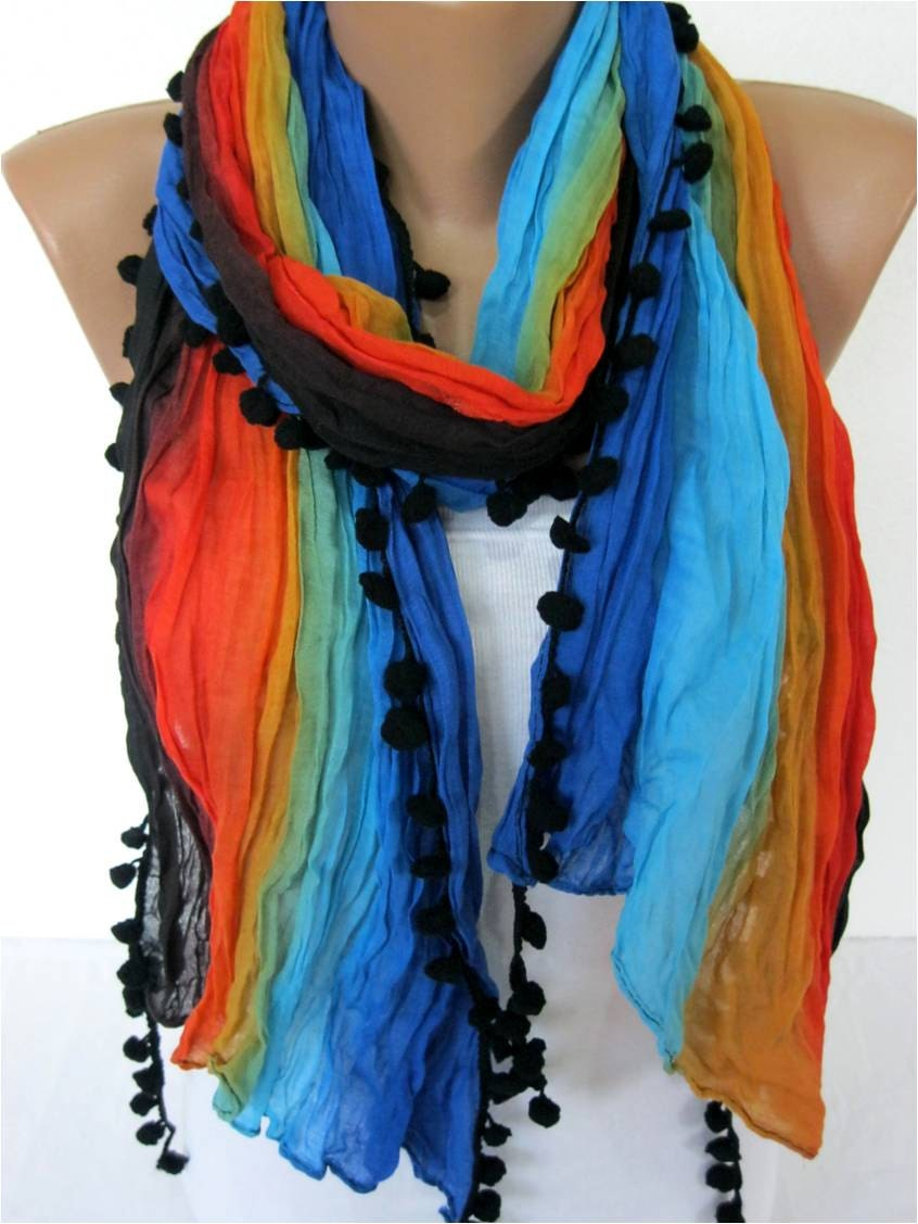 multicolor scarf cowl scarf bridesmaid gift fashion