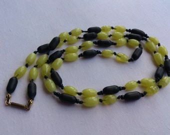 Vintage yellow and black bead necklace
