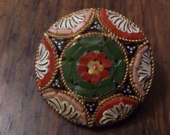 Vintage micromosaic brooch