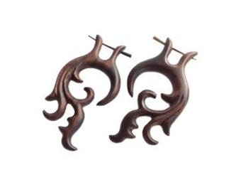Yodara Post Earrings..Fake Gauges, Handmade, Wood Earrings, Cheaters, Organic, Plugs, Split, Tribal Style