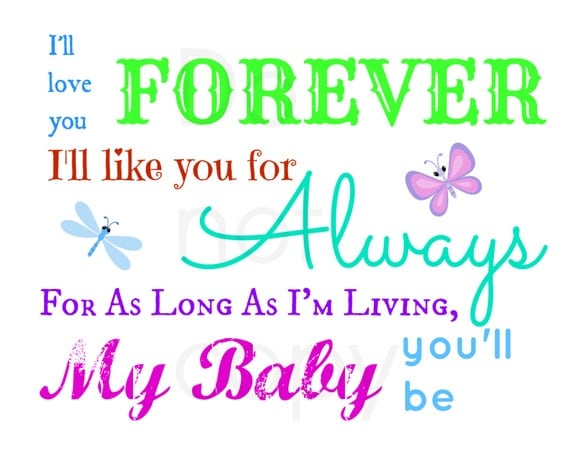 Digital File I Will Love You Forever Poem Nursery Wall Art-1097
