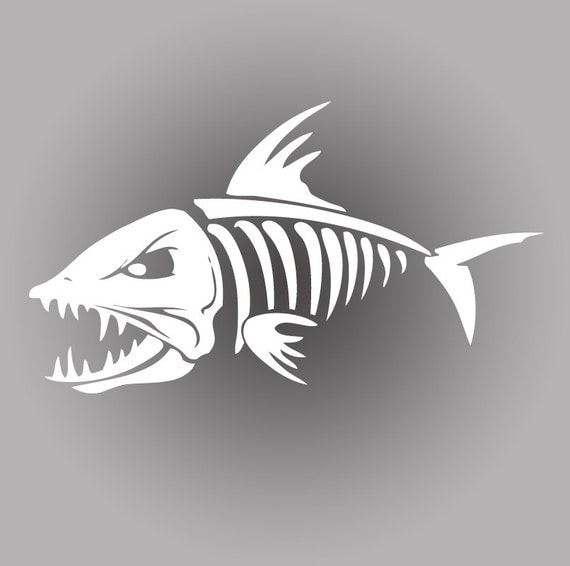 death skeleton bonefish fishing decal sticker tackle box