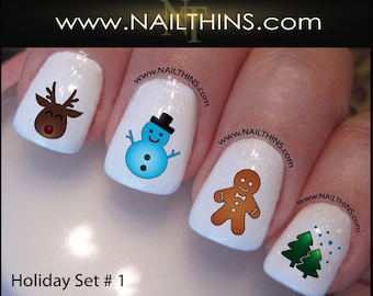 Christmas swirl nail decals holiday tree nail design nail art set no 1 holiday nail decals christmas nail design nail art prinsesfo Gallery