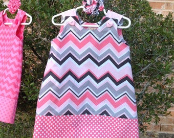 Pink and Grey Chevron Dress, (baby, girls, toddler, infant, child) Jumper or Sundress w matching hair accessory, Easter, Birthday