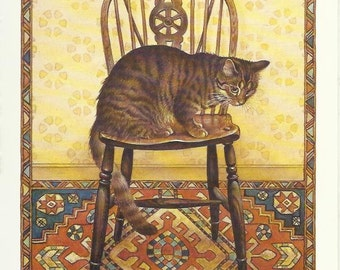 Cat on Chair by Lesley Anne Ivory 1989 colour cat print Feline Print Wall Art Home Decor Vintage Print Color Print