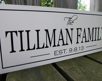 Personalized Wedding Gift, Established Family name sign, personalized bridal shower gift, Personalized Christmas Gift anniversary gift
