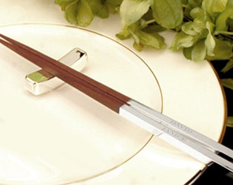 Pair of Chopsticks with stand - Personalized Chopsticks - A perfect gift for that connoisseur or Foodie that you love !